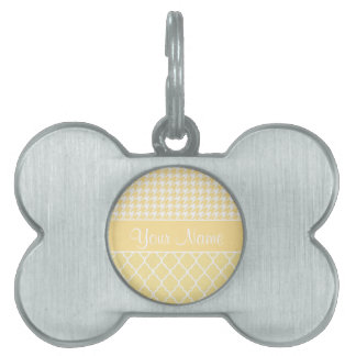 Houndstooth and Quatrefoil Yellow and White Pet ID Tag