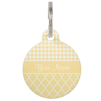 Houndstooth and Quatrefoil Yellow and White Pet Name Tag