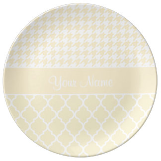 Houndstooth and Quatrefoil Yellow and White Plate