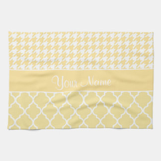 Houndstooth and Quatrefoil Yellow and White Tea Towel