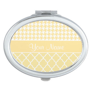 Houndstooth and Quatrefoil Yellow and White Vanity Mirror