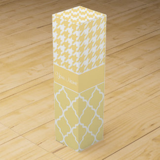 Houndstooth and Quatrefoil Yellow and White Wine Box
