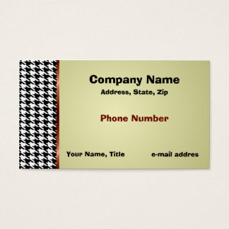 Houndstooth and Red Satin Ribbon Business Card
