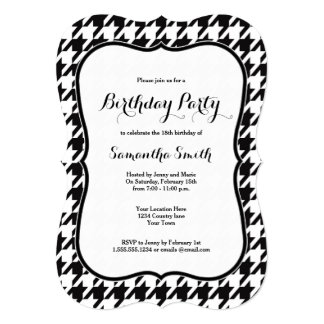 Houndstooth Birthday Party Card