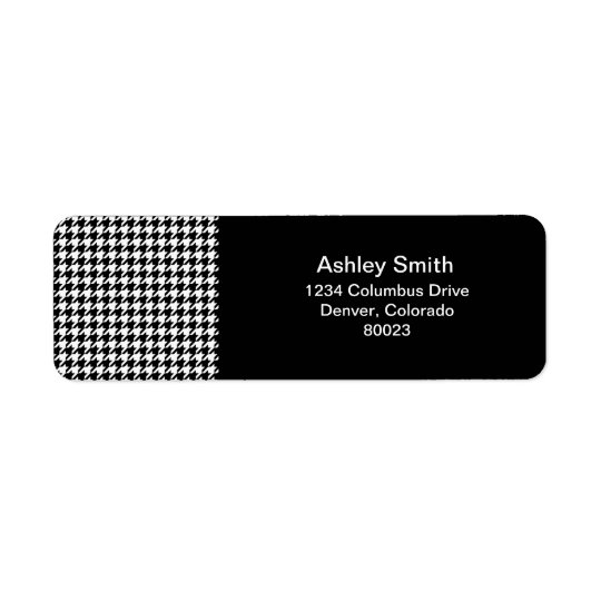 houndstooth check pattern return address label