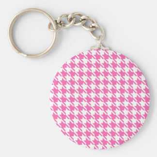 Houndstooth Checks Pattern in Pink and White Key Ring