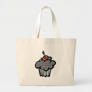 houndstooth cupcake jumbo tote bag