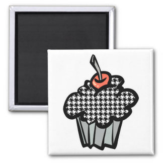 houndstooth cupcake square magnet