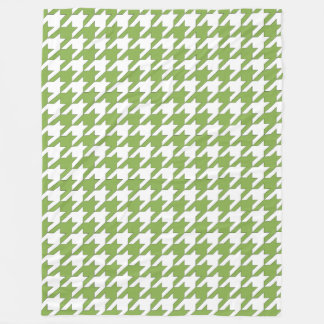 Houndstooth design in greenery and white fleece blanket