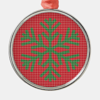 Houndstooth Green Snowflake Christmas Ornament