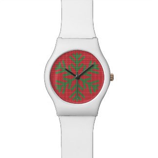 Houndstooth Green Snowflake Christmas Watch