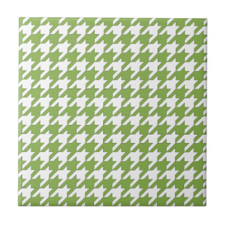 houndstooth greenery and white ceramic tile