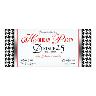 Houndstooth Holiday Party Invitations