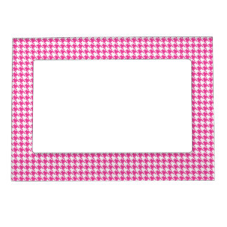 Houndstooth Hot Pink and White Magnetic Frames
