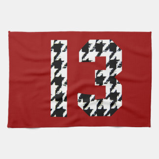 Houndstooth Lucky Number 13 Tea Towel