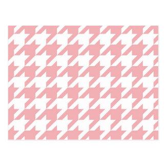 Houndstooth pastel pink pattern postcard