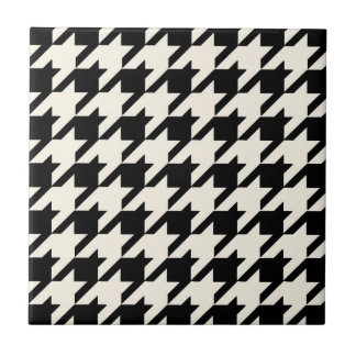 Houndstooth Pattern Black and Cream Tile