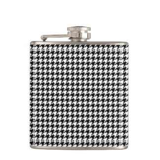 Houndstooth pattern black and white hip flask