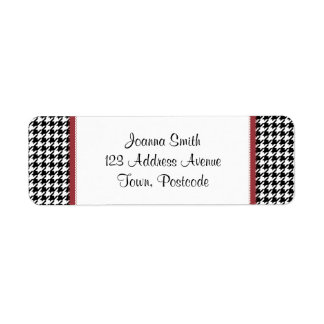 Houndstooth pattern - Black and white Return Address Label