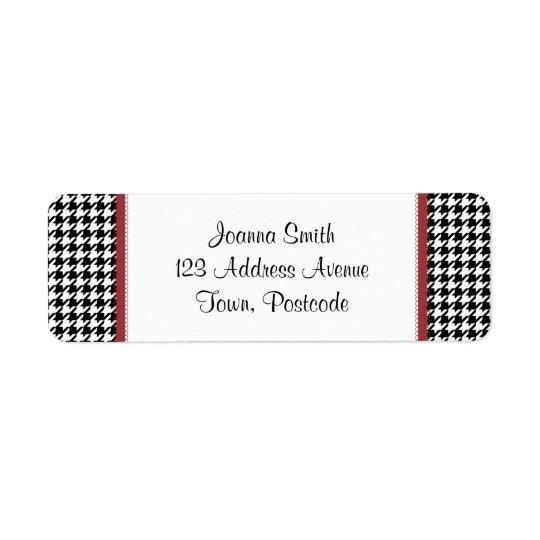 Houndstooth pattern - Black and white Return Address Label