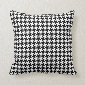 Houndstooth pattern black and white throw pillow