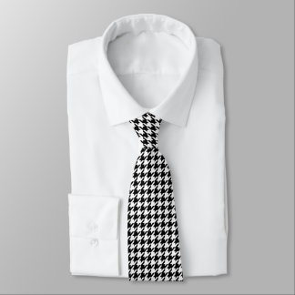 Houndstooth Pattern Black And White Tie