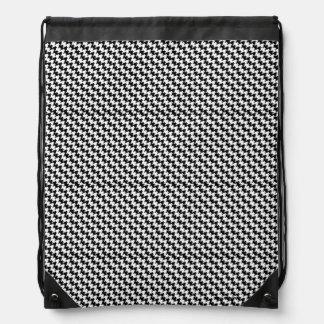 Houndstooth Pattern Drawstring Bag