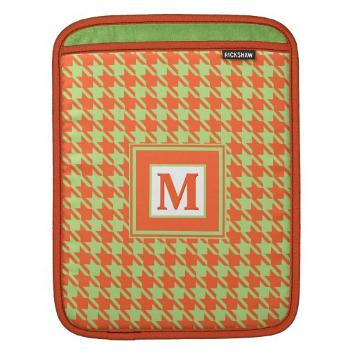 Houndstooth Pattern Green and Orange Monogram Sleeves For iPads