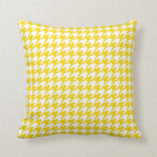 Houndstooth Pattern in Lemon Yellow and White Cushion