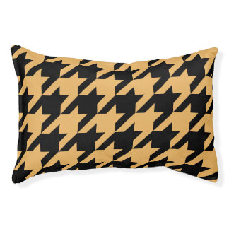 Houndstooth Pet Bed (Mustard)