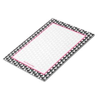 Houndstooth & Pink Personalized Notepad