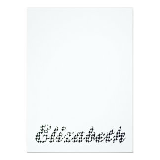 Houndstooth Print Name Elizabeth 14 Cm X 19 Cm Invitation Card