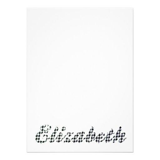 Houndstooth Print Name Elizabeth Invites