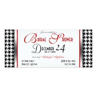 Houndstooth Red Accent Bridal Shower Invitations