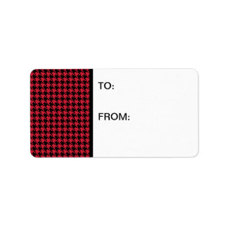 Houndstooth Red and Black Address Label
