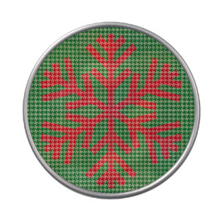 Houndstooth Red Snowflake Candy Tin