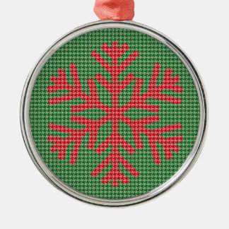 Houndstooth Red Snowflake Christmas Ornament