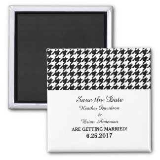 Houndstooth Save the Date Magnet, Black Magnets