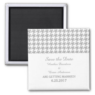 Houndstooth Save the Date Magnet, Gray