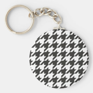 Houndstooth seamless grey, black and white pattern key ring