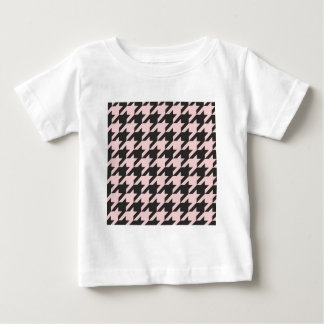 Houndstooth seamless pastel pink and black pattern shirt