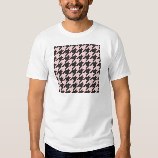 Houndstooth seamless pastel pink and black pattern tee shirt