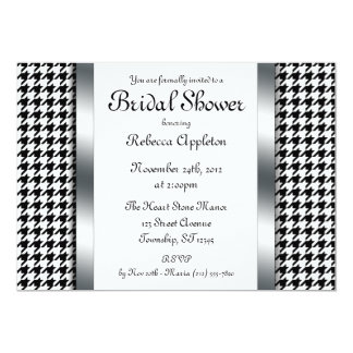 Houndstooth & Silver Design Bridal Shower Invites