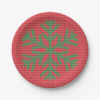 Houndstooth Snowflake Paper Plate - RED 7 Inch Paper Plate