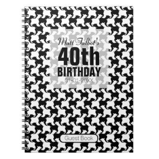 Houndstooth Tesselation Dog 40th birthday Guest B Spiral Notebooks