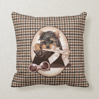 Houndstooth Yorkie Puppy Cushion