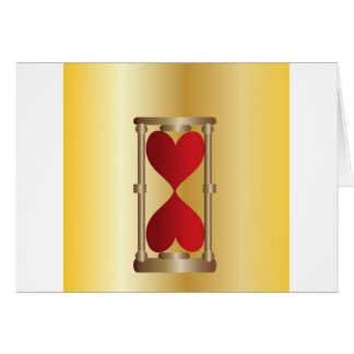 Hourglasses gold with red hearts card