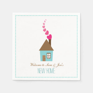 House and Hearts, Welcome to New Home Personalized Paper Napkin