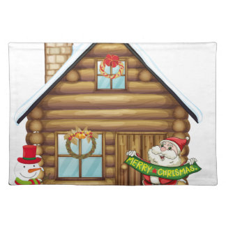 house and santa claus place mat