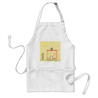 House and tree, embroidery by a child. standard apron